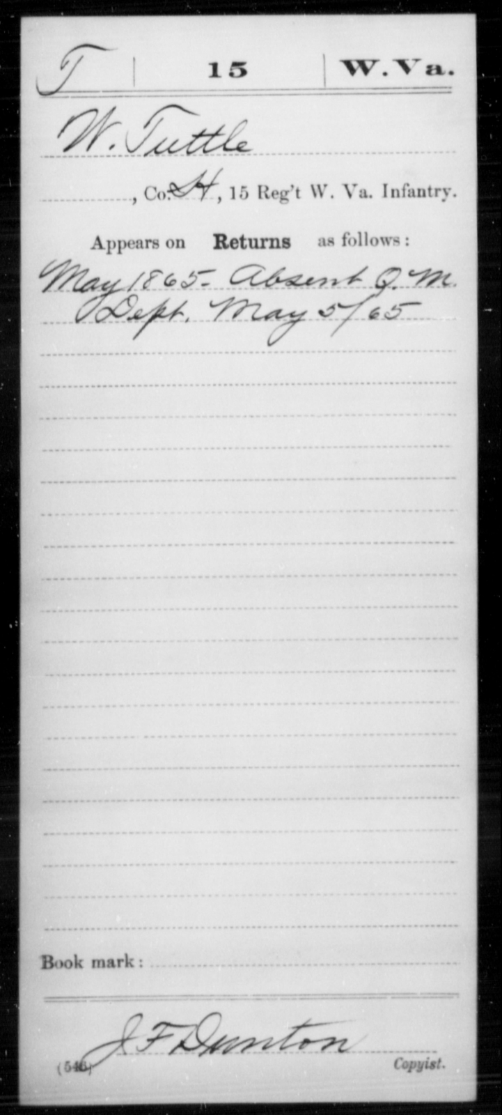Tuttle, W - Age [Blank], Year: 1865 - Miscellaneous Card Abstracts of Records - West Virginia
