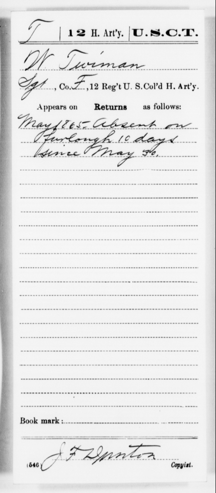 Twiman, W - Age [Blank], Year: 1865 - 12th US Colored Heavy Artillery, Misc Cards, H-Y - United States Colored Troops: Artillery Organizations