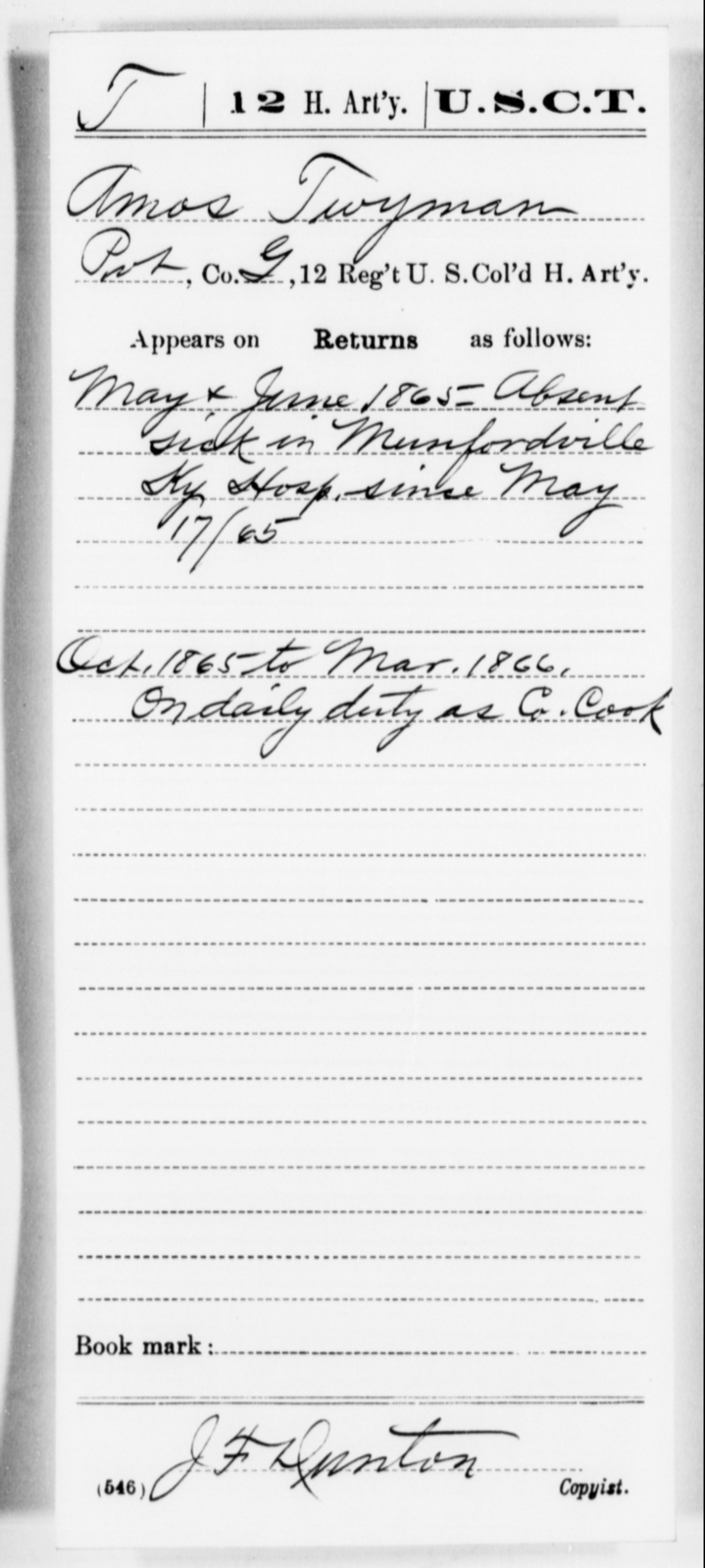 Twyman, Amos - Age [Blank], Year: 1865 - 12th US Colored Heavy Artillery, Misc Cards, H-Y - United States Colored Troops: Artillery Organizations
