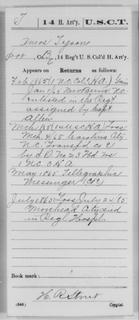 Tyson, Amos - Age [Blank], Year: 1865 - 14th US Colored Heavy Artillery, Wi-Y AND Misc Cards - United States Colored Troops: Artillery Organizations