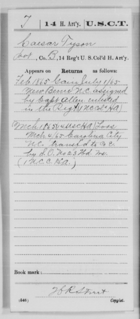 Tyson, Caesar - Age [Blank], Year: 1865 - 14th US Colored Heavy Artillery, Wi-Y AND Misc Cards - United States Colored Troops: Artillery Organizations