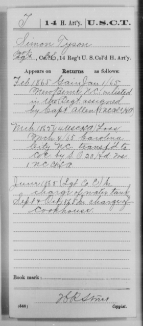 Tyson, Simon - Age [Blank], Year: 1865 - 14th US Colored Heavy Artillery, Wi-Y AND Misc Cards - United States Colored Troops: Artillery Organizations