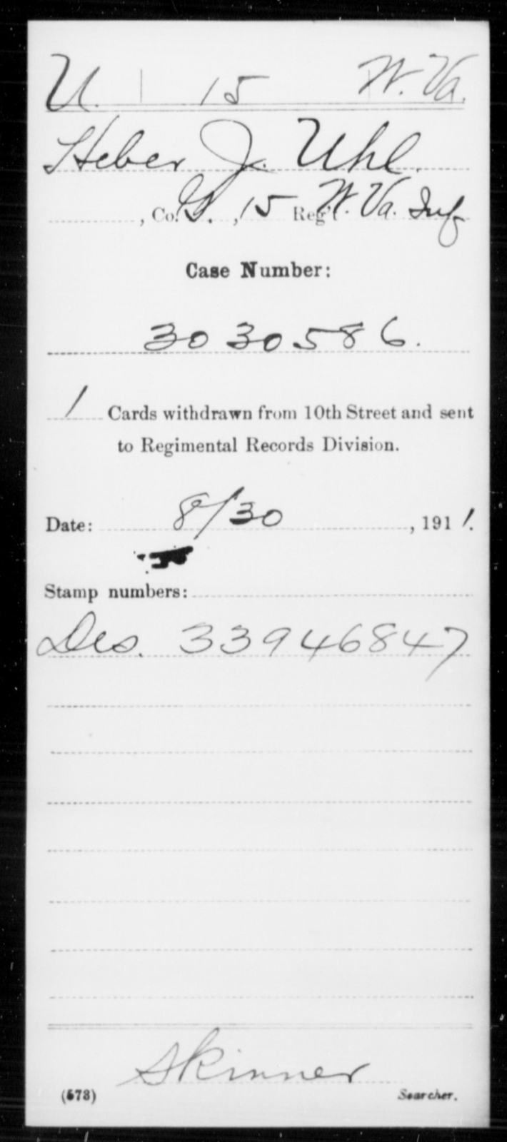 Uhl, Heber J - Age [Blank], Year: [Blank] - Miscellaneous Card Abstracts of Records - West Virginia