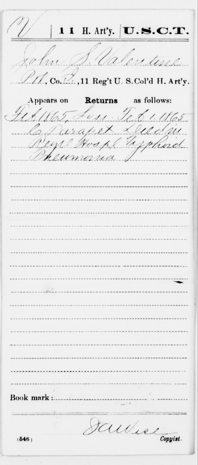 Valentine, John S - Age [Blank], Year: 1865 - 11th US Colored Heavy Artillery, Misc Cards, E-Y - United States Colored Troops: Artillery Organizations
