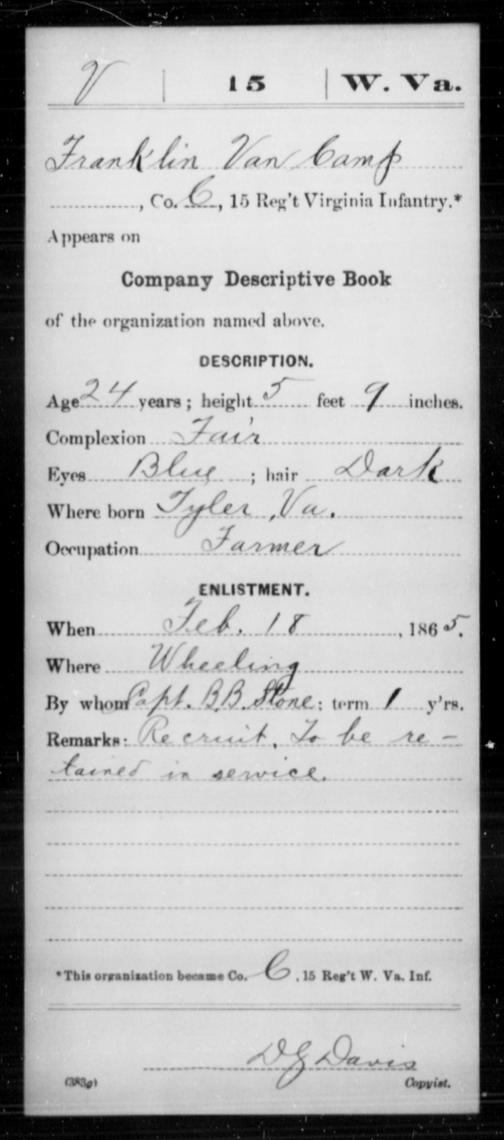 Van Camp, Franklin - Age 24, Year: 1865 - Miscellaneous Card Abstracts of Records - West Virginia