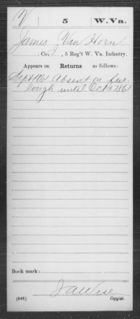 Van Horn, James - Age [Blank], Year: 1861 - Miscellaneous Card Abstracts of Records - West Virginia