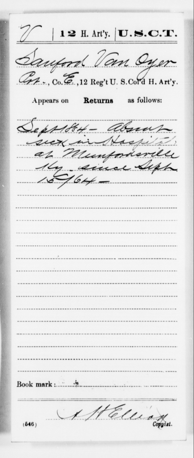 Van Oyer, Sanford - Age [Blank], Year: 1864 - 12th US Colored Heavy Artillery, Misc Cards, H-Y - United States Colored Troops: Artillery Organizations