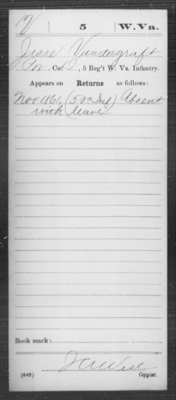 Vandergraft, Jesse - Age [Blank], Year: 1861 - Miscellaneous Card Abstracts of Records - West Virginia