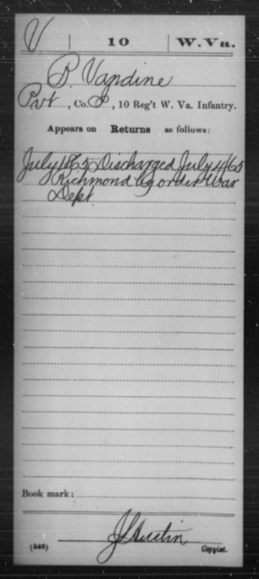 Vandine, B - Age [Blank], Year: 1865 - Miscellaneous Card Abstracts of Records - West Virginia