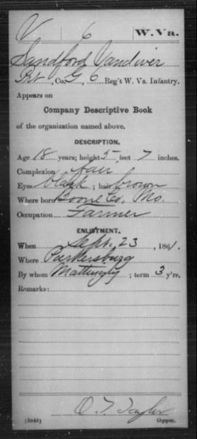 Vandiver, Sandford - Age 18, Year: 1861 - Miscellaneous Card Abstracts of Records - West Virginia