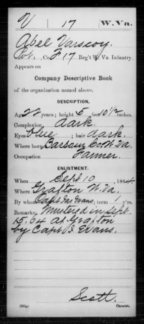 Varscoy, Abel - Age 22, Year: 1864 - Miscellaneous Card Abstracts of Records - West Virginia