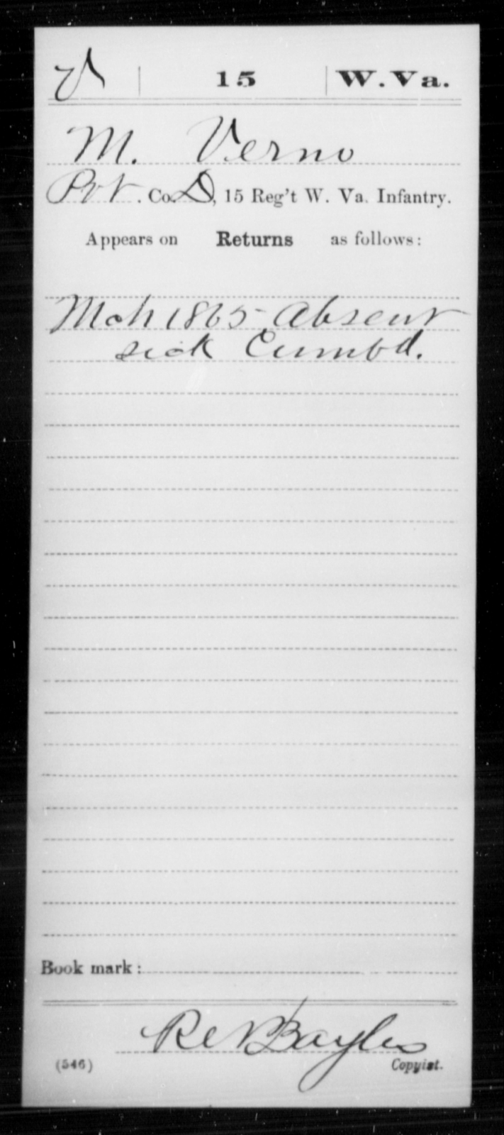 Verno, M - Age [Blank], Year: 1865 - Miscellaneous Card Abstracts of Records - West Virginia