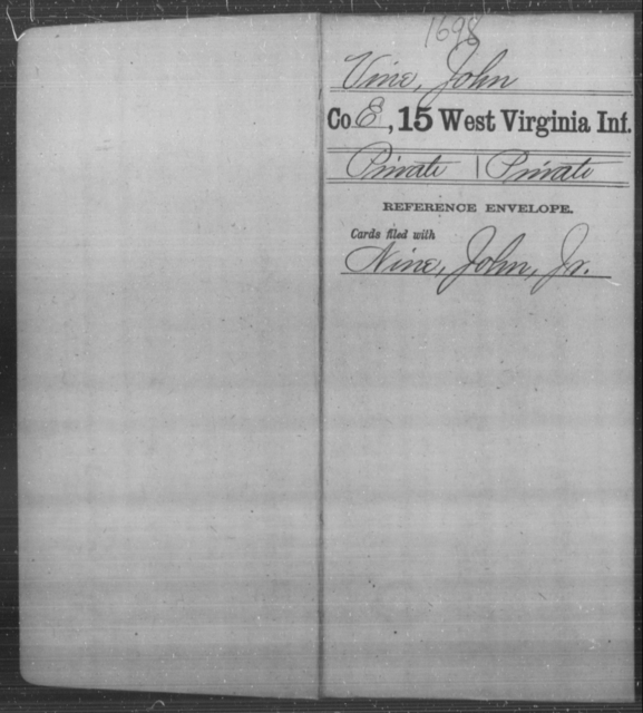 Vine, John - Age [Blank], Year: [Blank] - Fifteenth Infantry - West Virginia