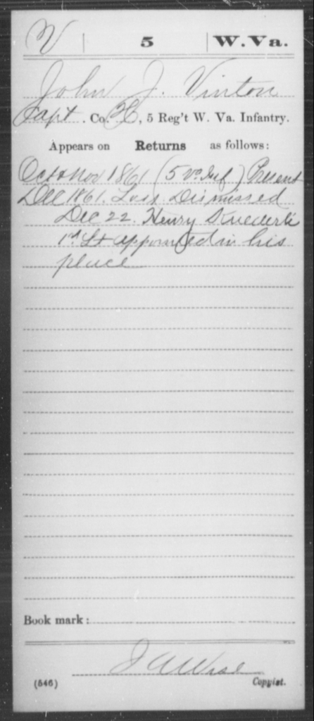 Vinton, John J - Age [Blank], Year: 1861 - Miscellaneous Card Abstracts of Records - West Virginia