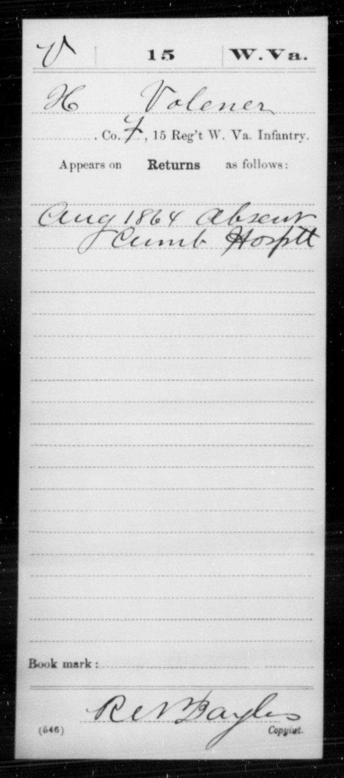 Volener, H - Age [Blank], Year: 1864 - Miscellaneous Card Abstracts of Records - West Virginia
