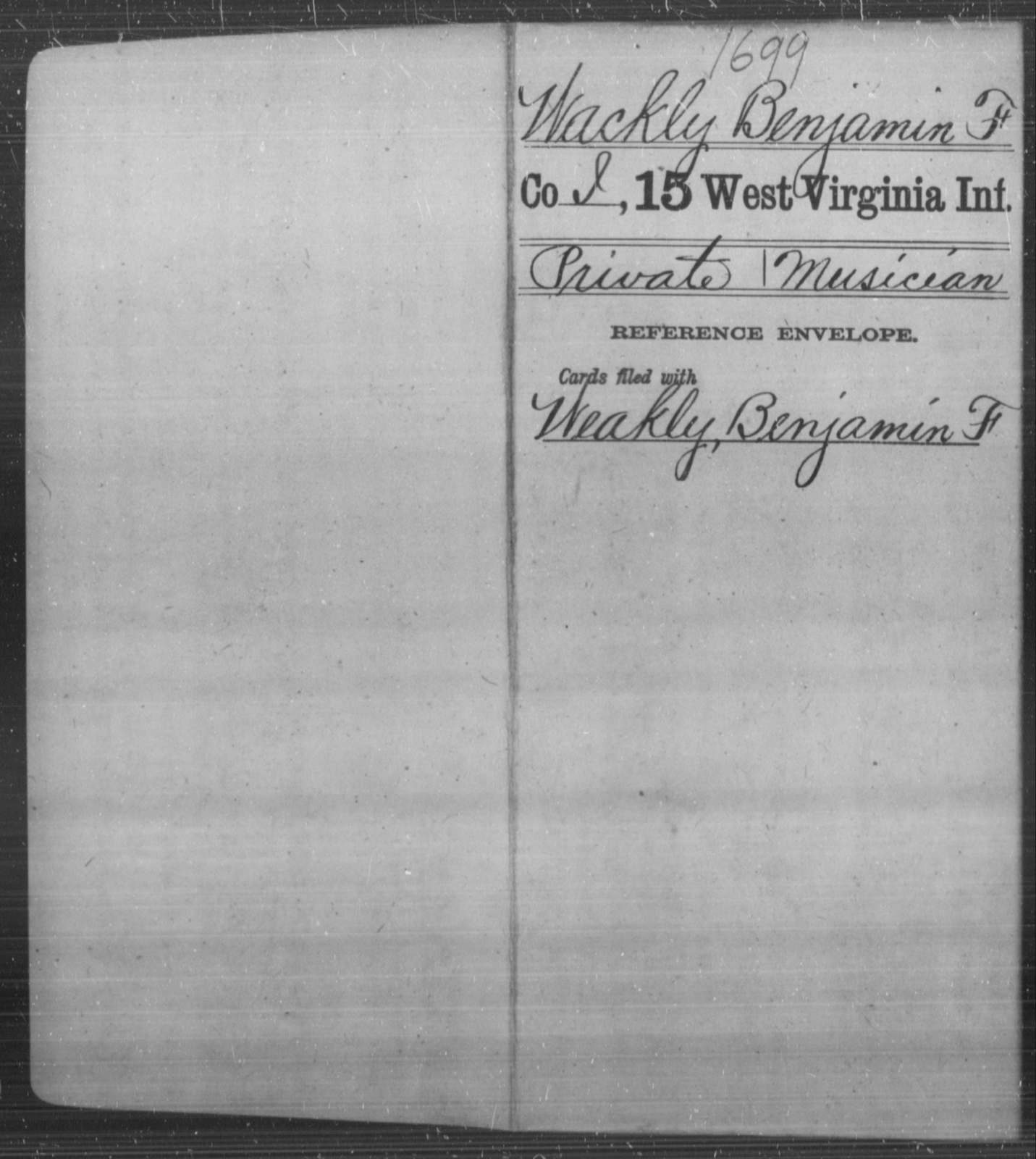 Wackly, Benjamin F - Age [Blank], Year: [Blank] - Fifteenth Infantry - West Virginia