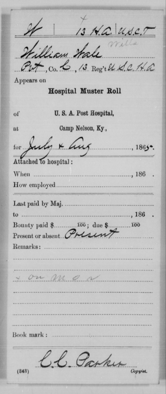 Wale, William - Age [Blank], Year: 1865 - 13th US Colored Heavy Artillery, Misc Cards - United States Colored Troops: Artillery Organizations