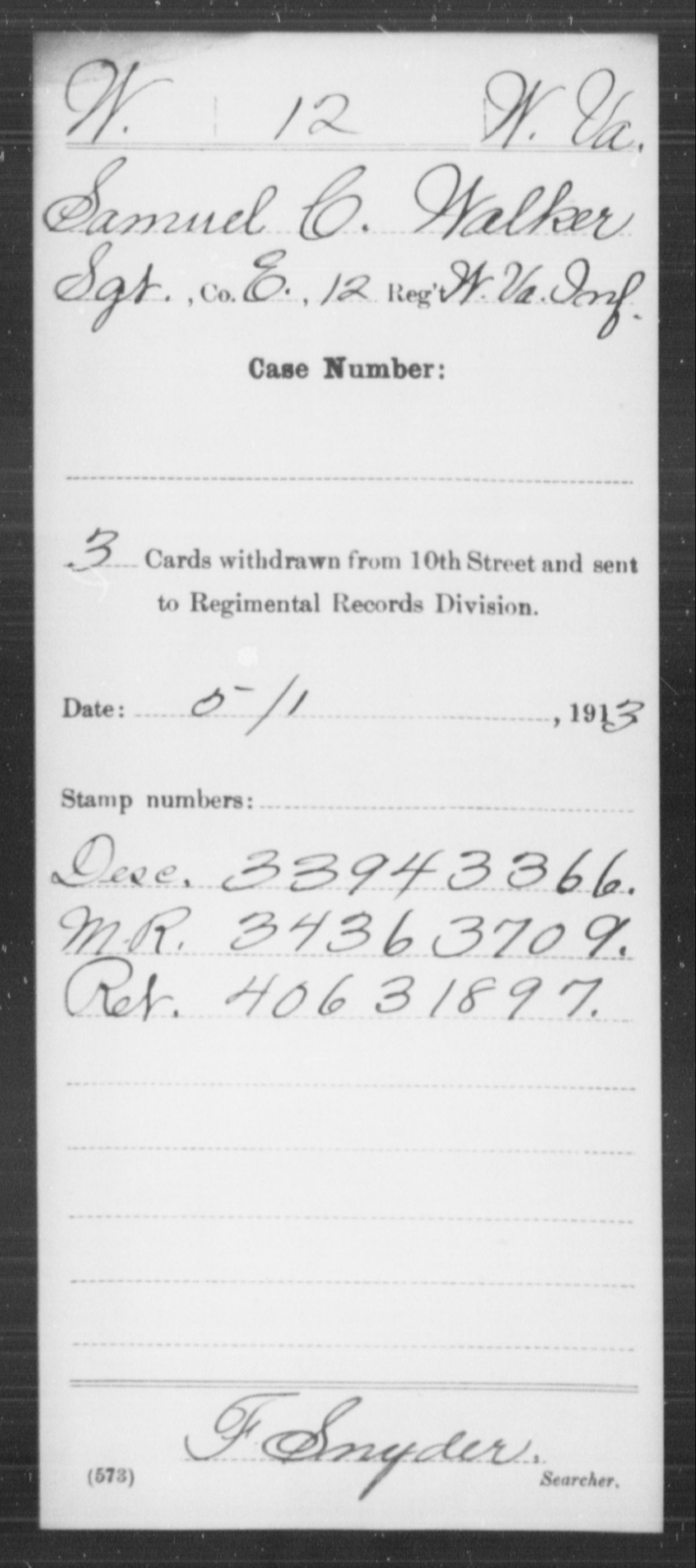 Walker, Samuel C - Age [Blank], Year: [Blank] - Miscellaneous Card Abstracts of Records - West Virginia