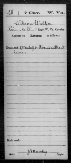 Walker, Wilson - Age [Blank], Year: 1861 - Miscellaneous Card Abstracts of Records - West Virginia