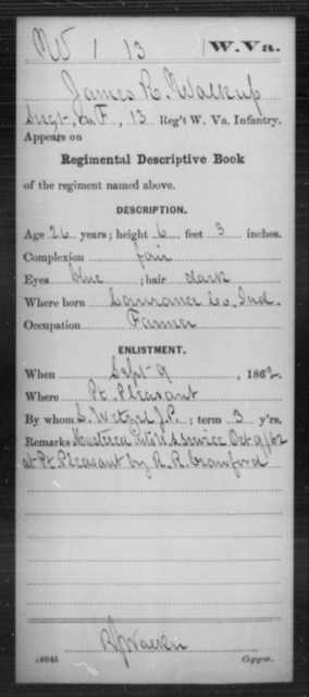 Walkup, James R - Age 26, Year: 1862 - Miscellaneous Card Abstracts of Records - West Virginia