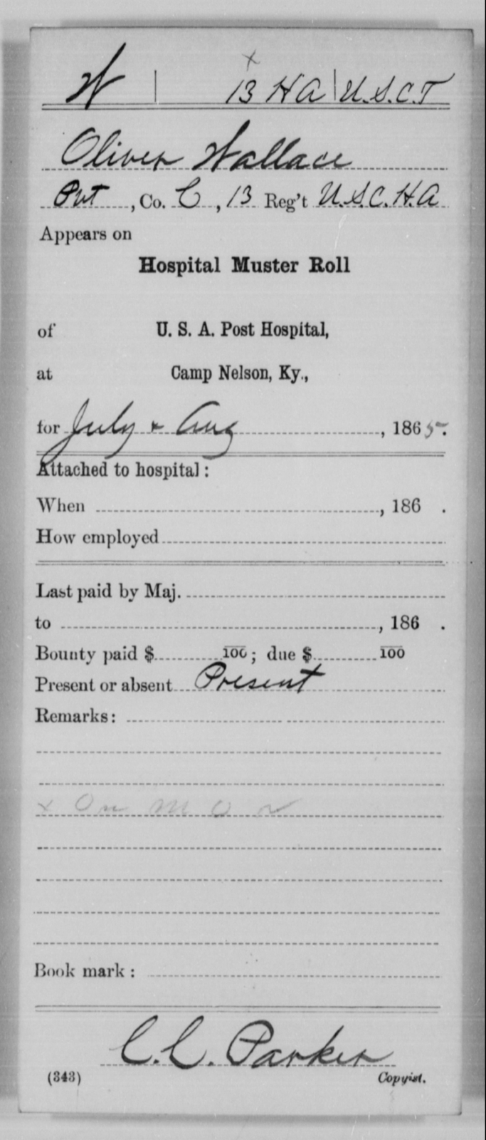 Wallace, Oliver - Age [Blank], Year: 1865 - 13th US Colored Heavy Artillery, Misc Cards - United States Colored Troops: Artillery Organizations