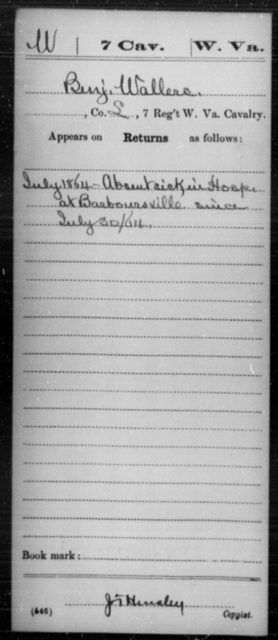 Wallers, Benj - Age [Blank], Year: 1864 - Miscellaneous Card Abstracts of Records - West Virginia
