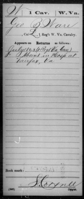Ware, Geo B - Age [Blank], Year: 1863 - Miscellaneous Card Abstracts of Records - West Virginia