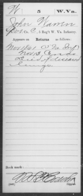 Warren, John - Age [Blank], Year: 1861 - Miscellaneous Card Abstracts of Records - West Virginia