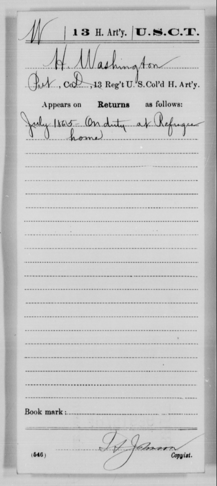 Washington, H - Age [Blank], Year: 1865 - 13th US Colored Heavy Artillery, Misc Cards - United States Colored Troops: Artillery Organizations