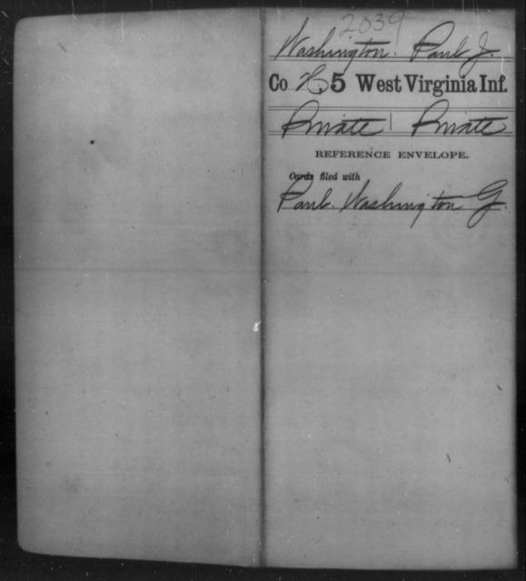 Washington, Paul J - Age [Blank], Year: [Blank] - Fifth Infantry - West Virginia