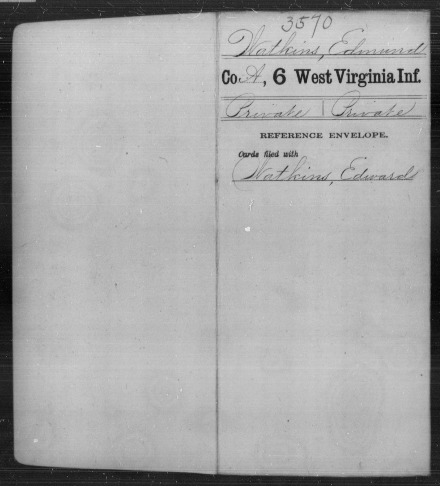 Watkins, Edmund - Age [Blank], Year: [Blank] - Sixth Infantry - West Virginia