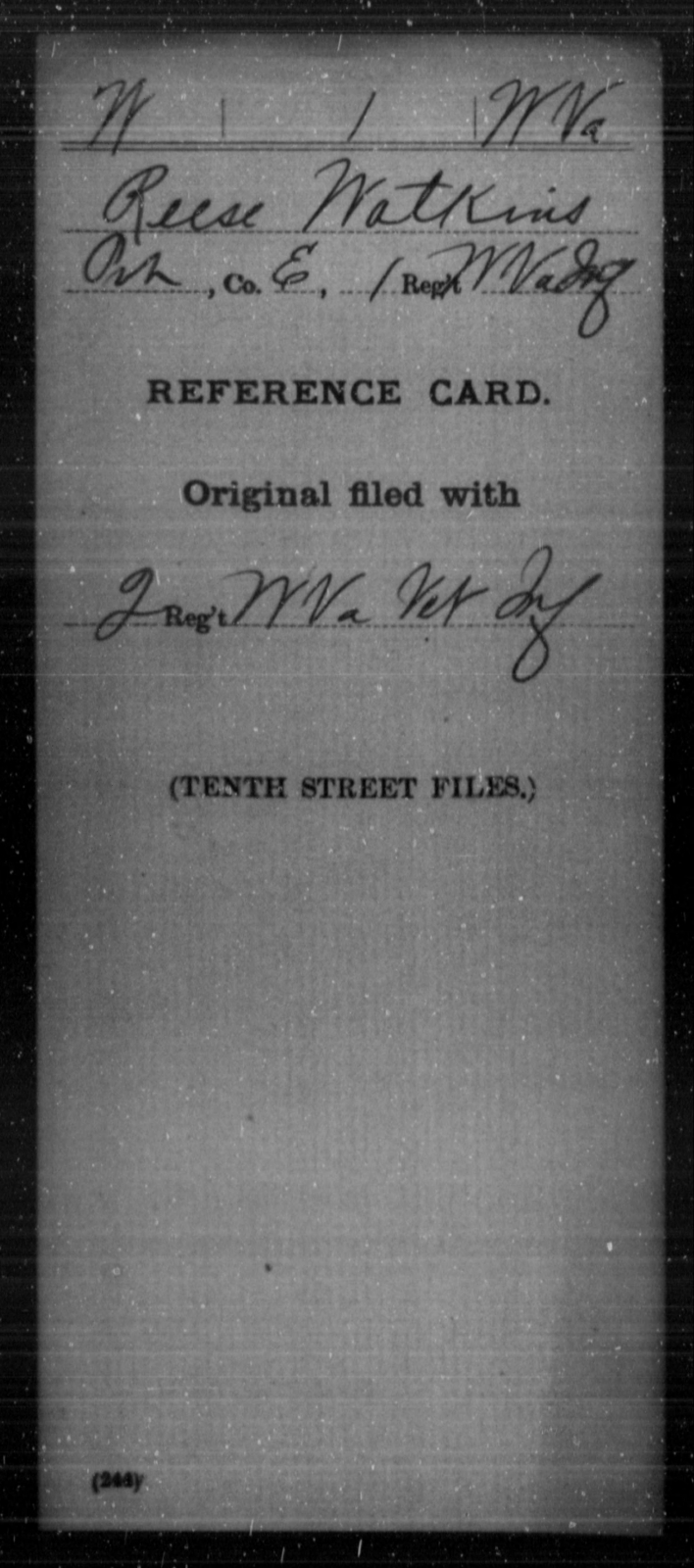 Watkins, Reese - Age [Blank], Year: [Blank] - Miscellaneous Card Abstracts of Records - West Virginia