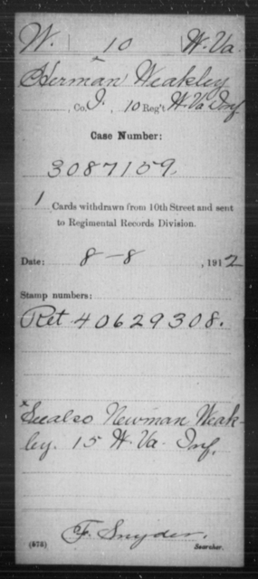 Weakley, Herman - Age [Blank], Year: [Blank] - Miscellaneous Card Abstracts of Records - West Virginia