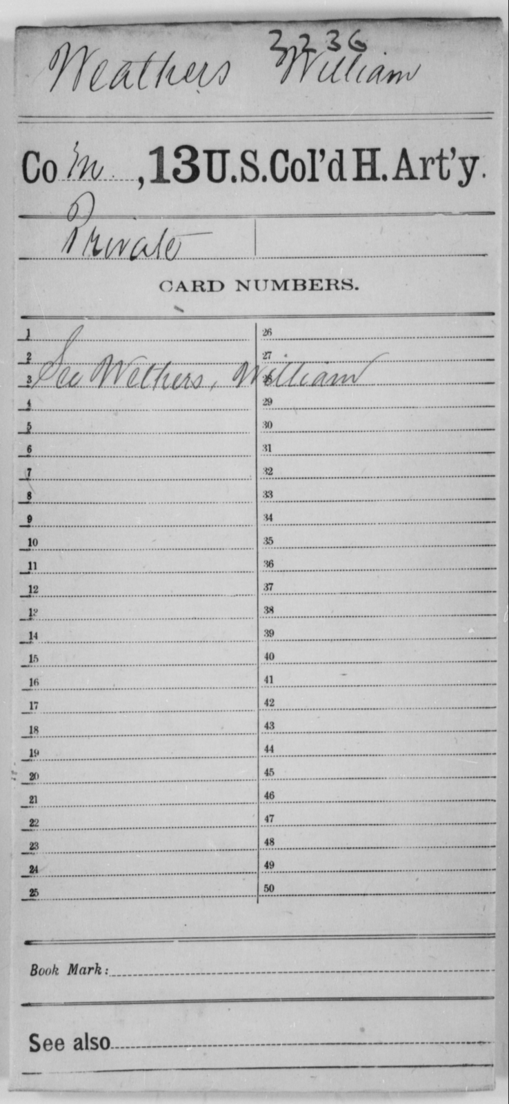 Weathers, William - Age [Blank], Year: [Blank] - 13th US Colored Heavy Artillery - United States Colored Troops: Artillery Organizations
