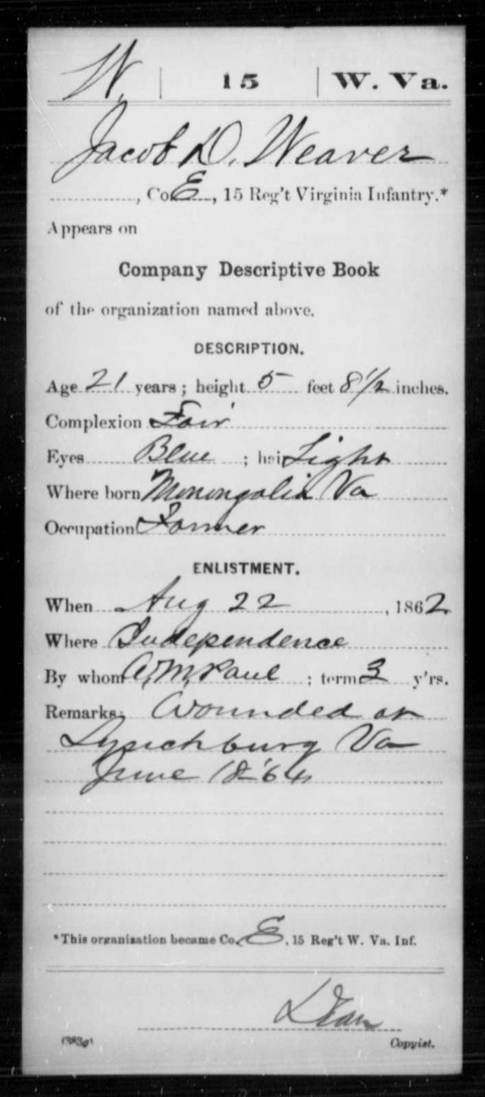 Weaver, Jacob D - Age 21, Year: 1862 - Miscellaneous Card Abstracts of Records - West Virginia