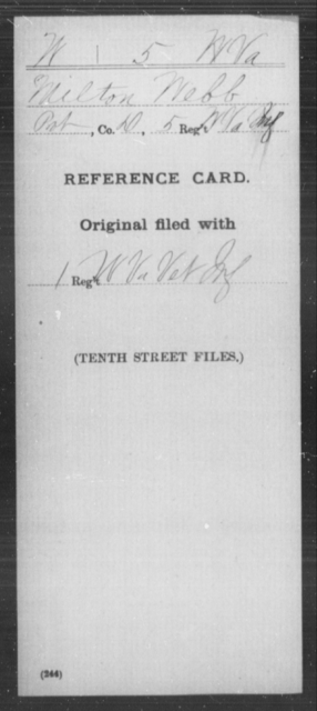 Webb, Milton - Age [Blank], Year: [Blank] - Miscellaneous Card Abstracts of Records - West Virginia