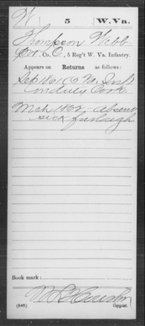 Webb, Thompson - Age [Blank], Year: 1861 - Miscellaneous Card Abstracts of Records - West Virginia