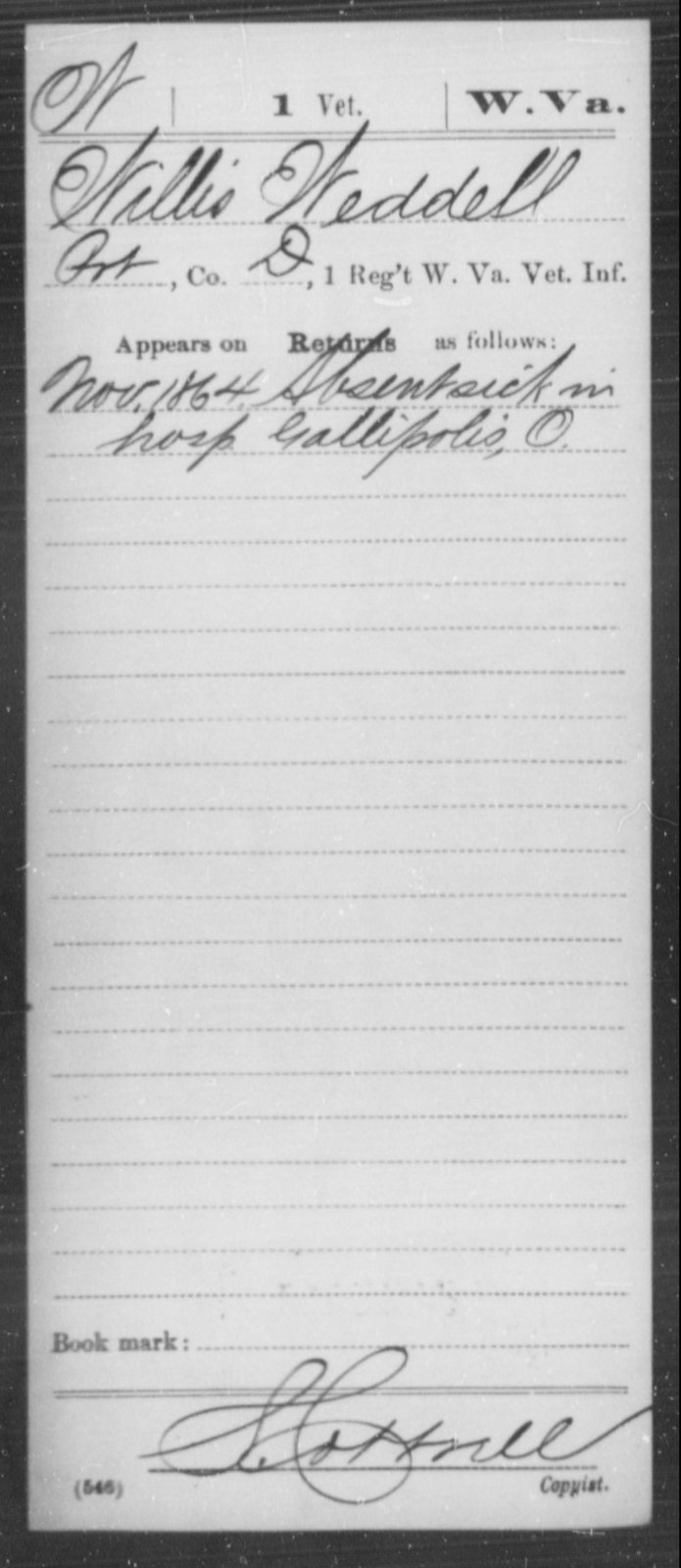 Weddell, Willis - Age [Blank], Year: 1864 - Miscellaneous Card Abstracts of Records - West Virginia
