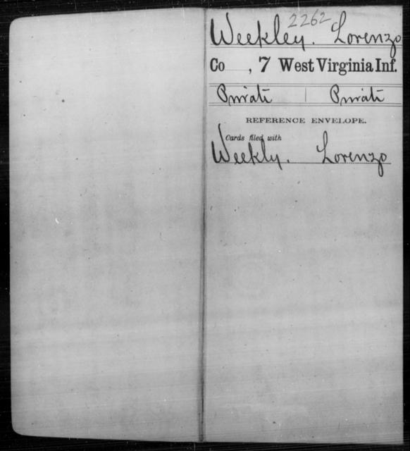 Weekley, Lorenzo - Age [Blank], Year: [Blank] - Seventh Infantry - West Virginia