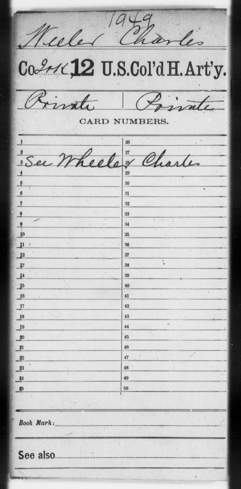 Weeler, Charles - Age [Blank], Year: [Blank] - 12th US Colored Heavy Artillery - United States Colored Troops: Artillery Organizations