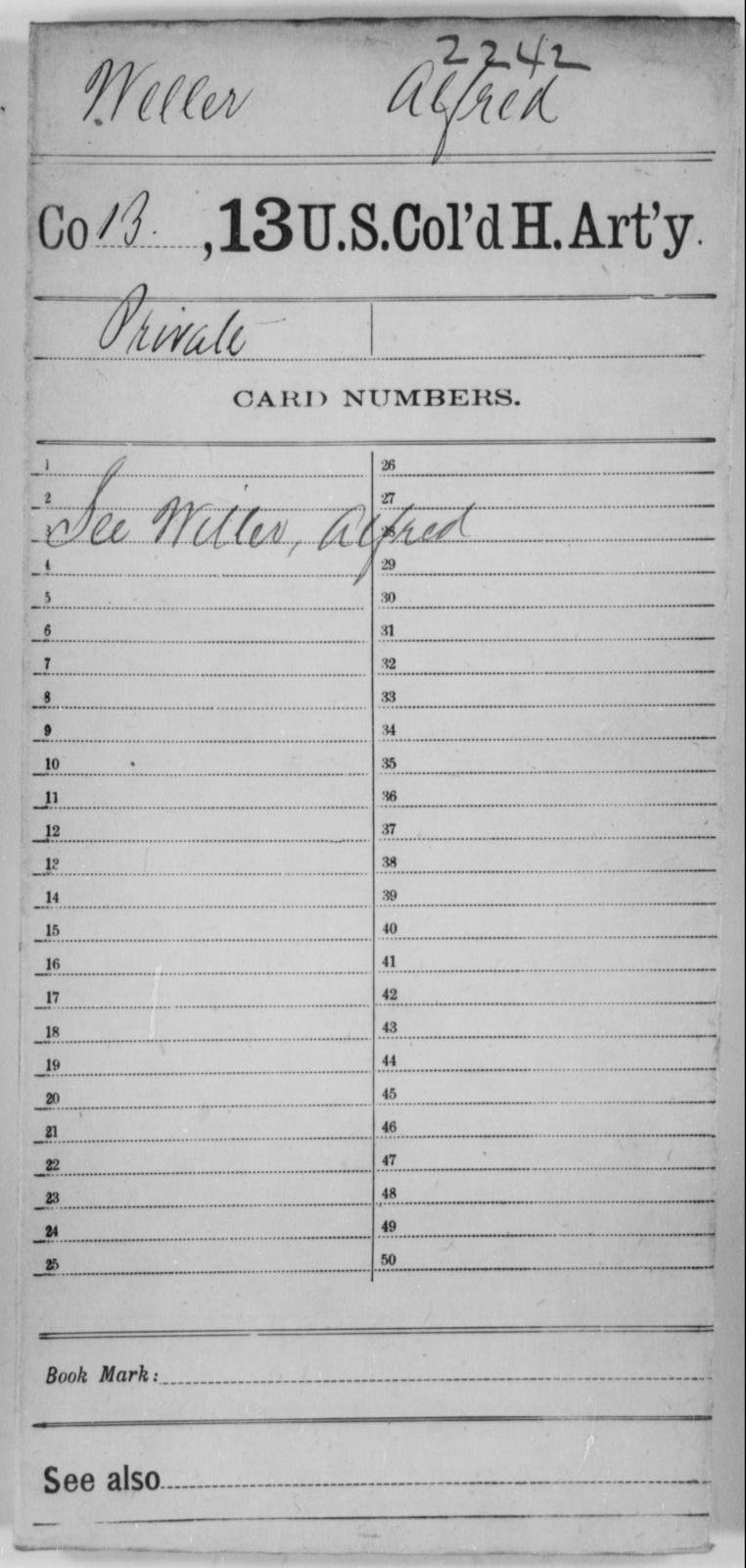 Weller, Alfred - Age [Blank], Year: [Blank] - 13th US Colored Heavy Artillery - United States Colored Troops: Artillery Organizations