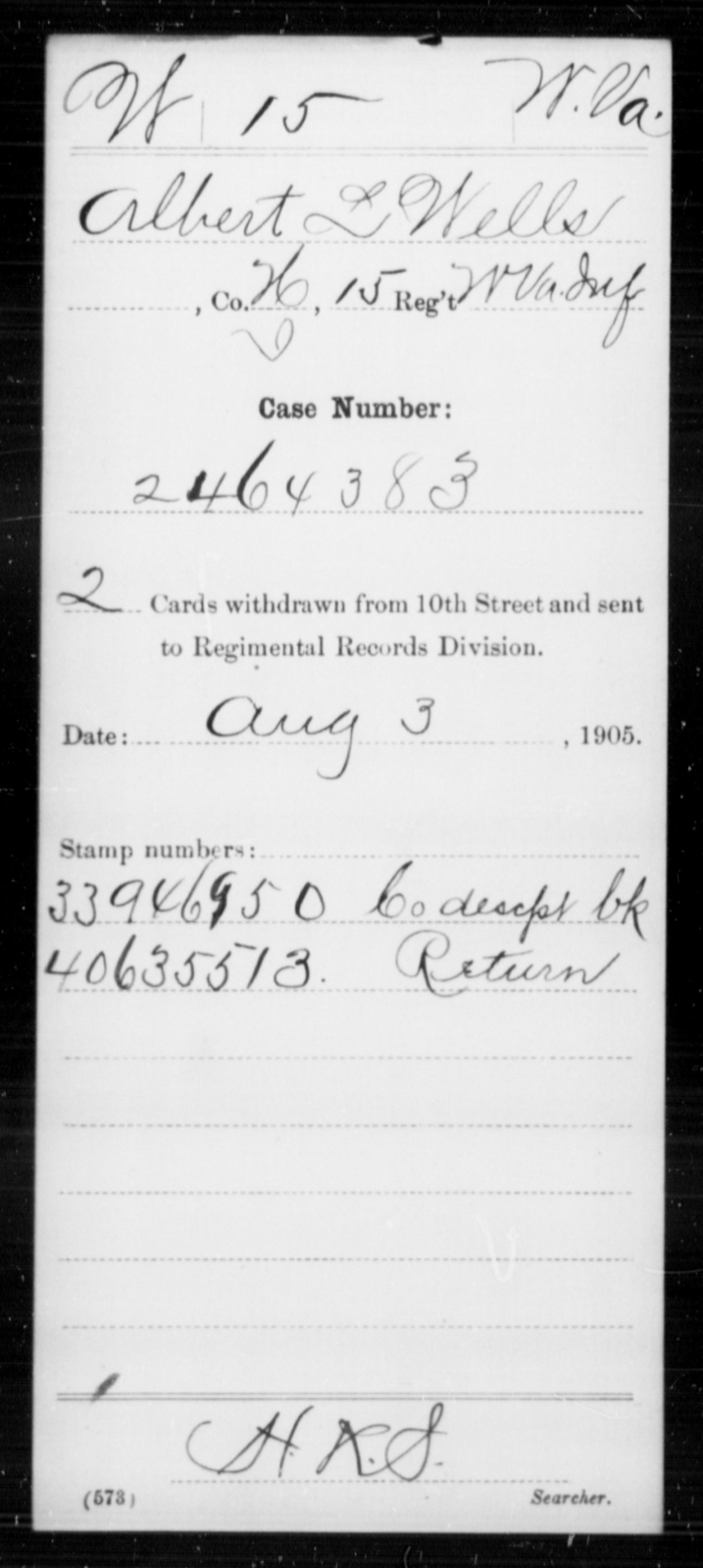 Wells, Albert L - Age [Blank], Year: [Blank] - Miscellaneous Card Abstracts of Records - West Virginia