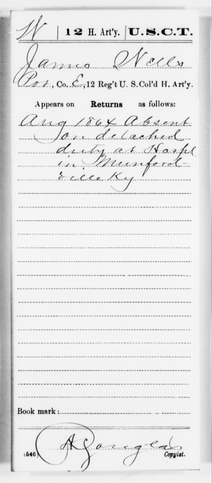 Wells, James - Age [Blank], Year: 1864 - 12th US Colored Heavy Artillery, Misc Cards, H-Y - United States Colored Troops: Artillery Organizations