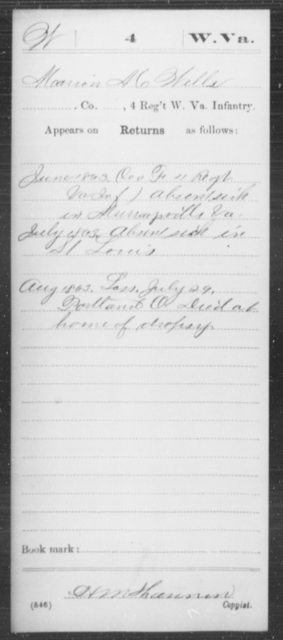 Wells, Marion M - Age [Blank], Year: 1863 - Miscellaneous Card Abstracts of Records - West Virginia