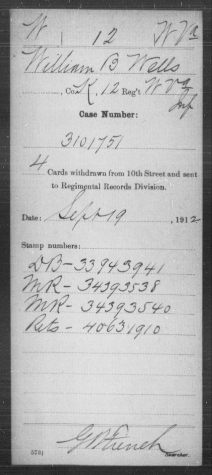 Wells, William B - Age [Blank], Year: [Blank] - Miscellaneous Card Abstracts of Records - West Virginia