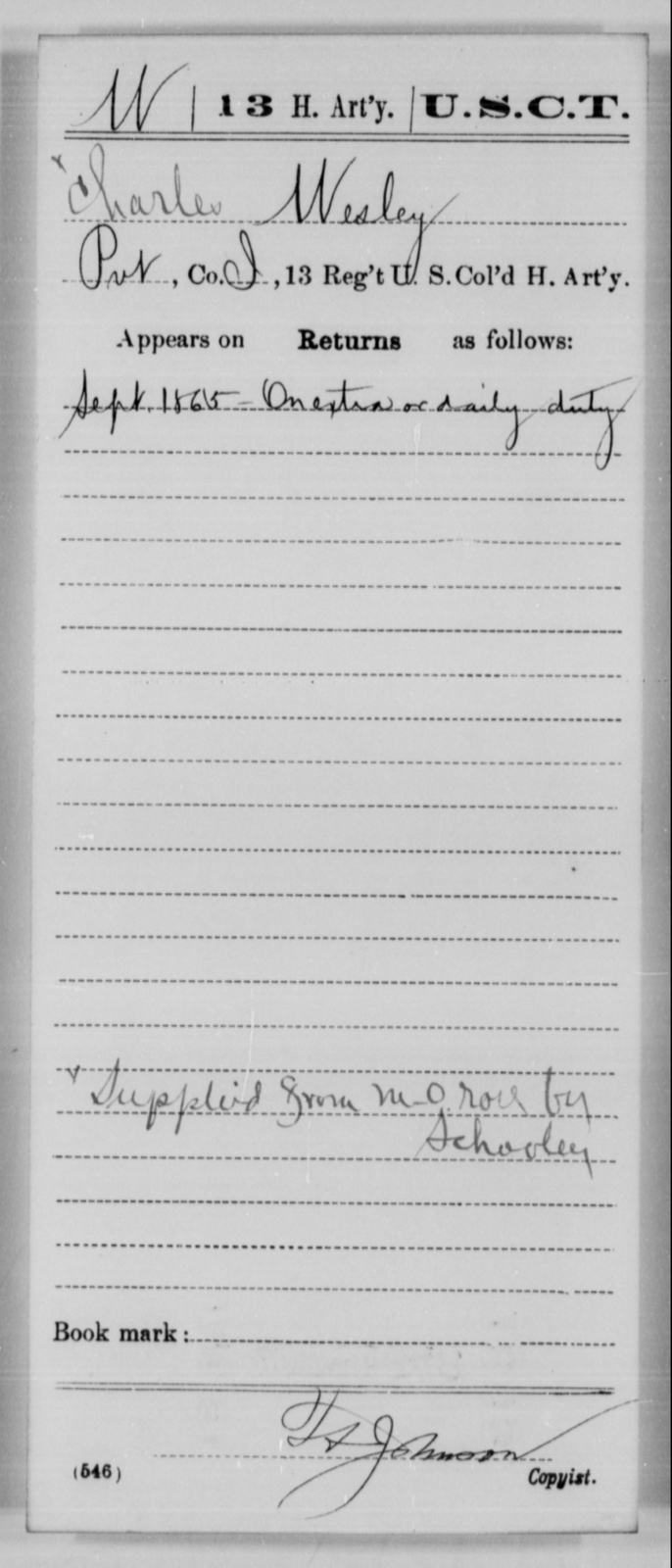 Wesley, Charles - Age [Blank], Year: 1865 - 13th US Colored Heavy Artillery, Misc Cards - United States Colored Troops: Artillery Organizations