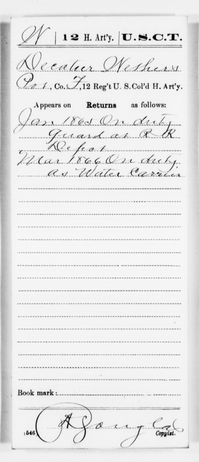 Wethers, Decatur - Age [Blank], Year: 1865 - 12th US Colored Heavy Artillery, Misc Cards, H-Y - United States Colored Troops: Artillery Organizations