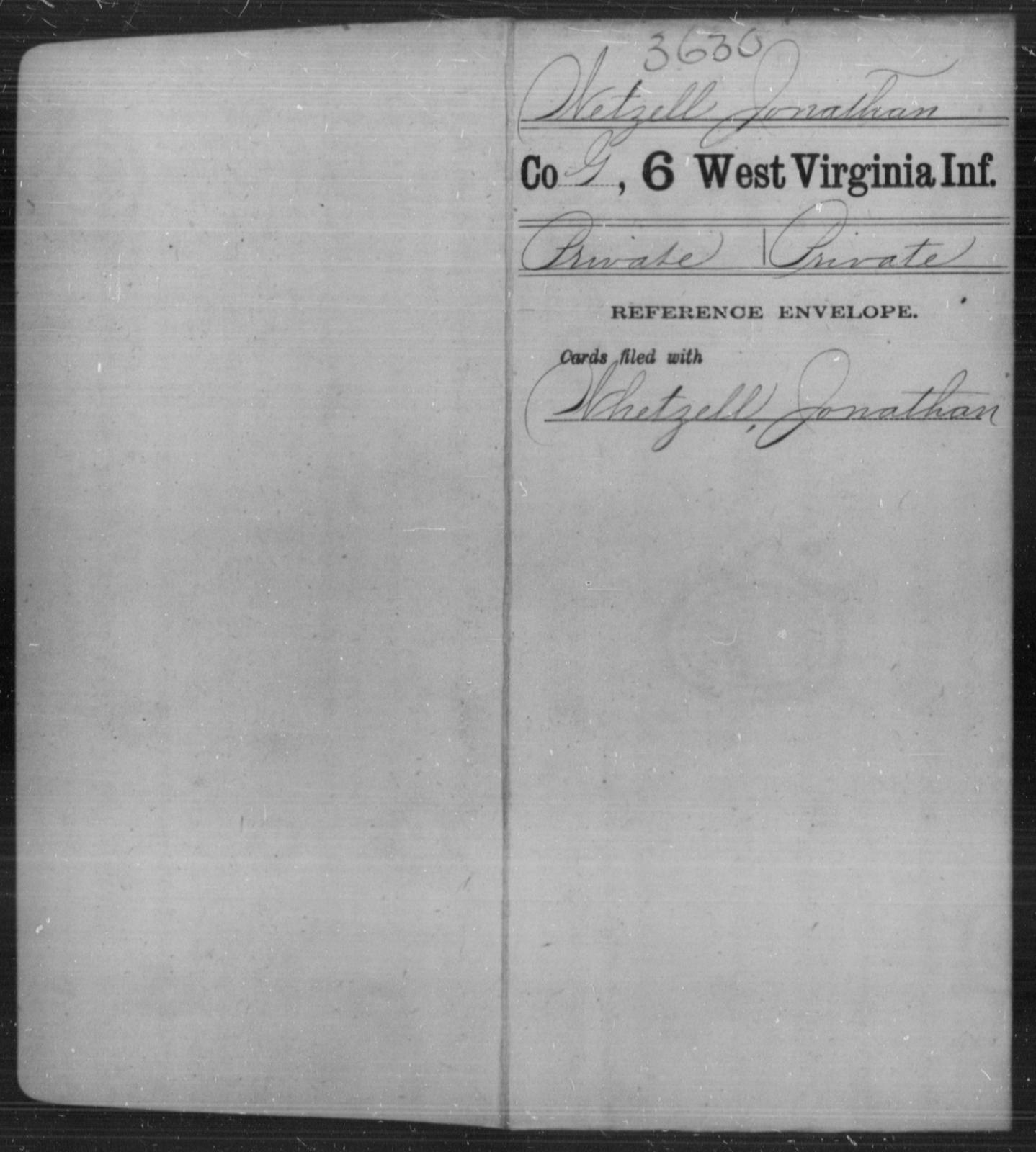Wetzell, Jonathan - Age [Blank], Year: [Blank] - Sixth Infantry - West Virginia