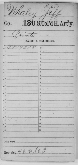 Whaley, Jeff - Age [Blank], Year: [Blank] - 13th US Colored Heavy Artillery - United States Colored Troops: Artillery Organizations