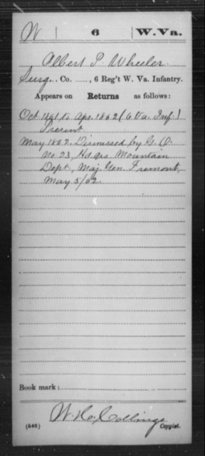 Wheeler, Albert P - Age [Blank], Year: 1861 - Miscellaneous Card Abstracts of Records - West Virginia